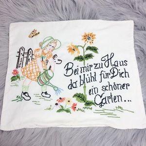 Vintage Embroidered Pillowcase Cover Garden Girl